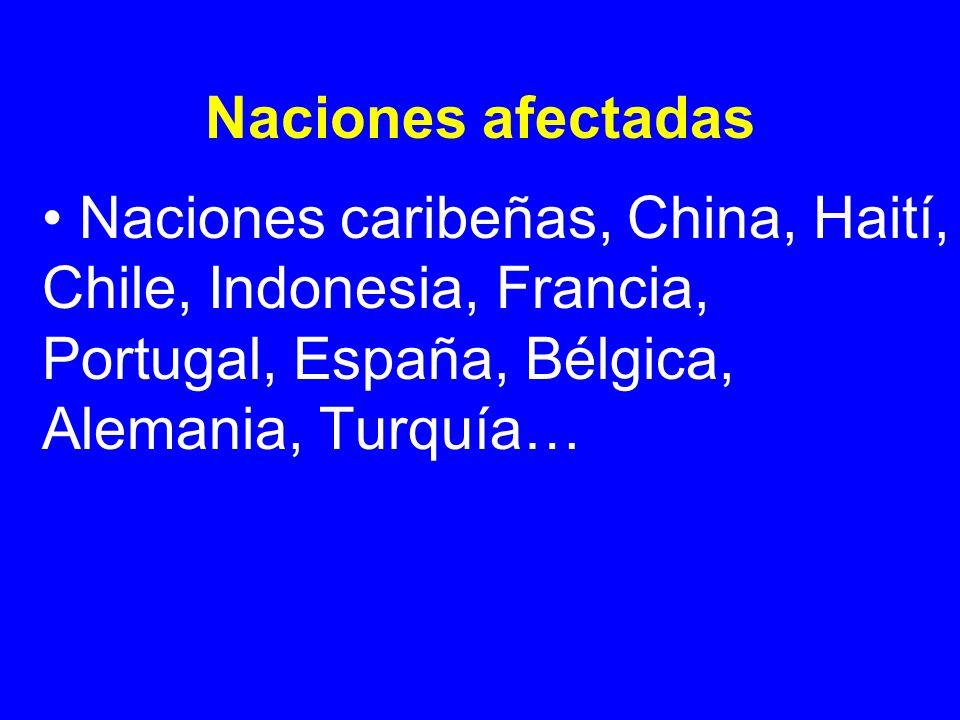 Naciones afectadas Naciones caribeñas, China, Haití, Chile, Indonesia, Francia, Portugal, España, Bélgica, Alemania, Turquía…