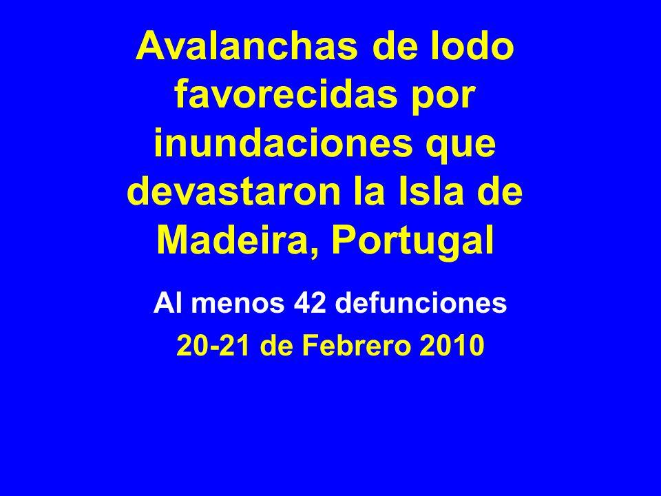 Avalanchas de lodo favorecidas por inundaciones que devastaron la Isla de Madeira, Portugal Al menos 42 defunciones 20-21 de Febrero 2010