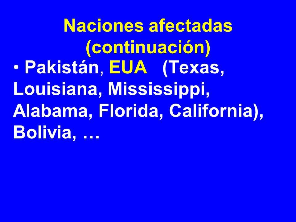 Naciones afectadas (continuación) Pakistán, EUA (Texas, Louisiana, Mississippi, Alabama, Florida, California), Bolivia, …