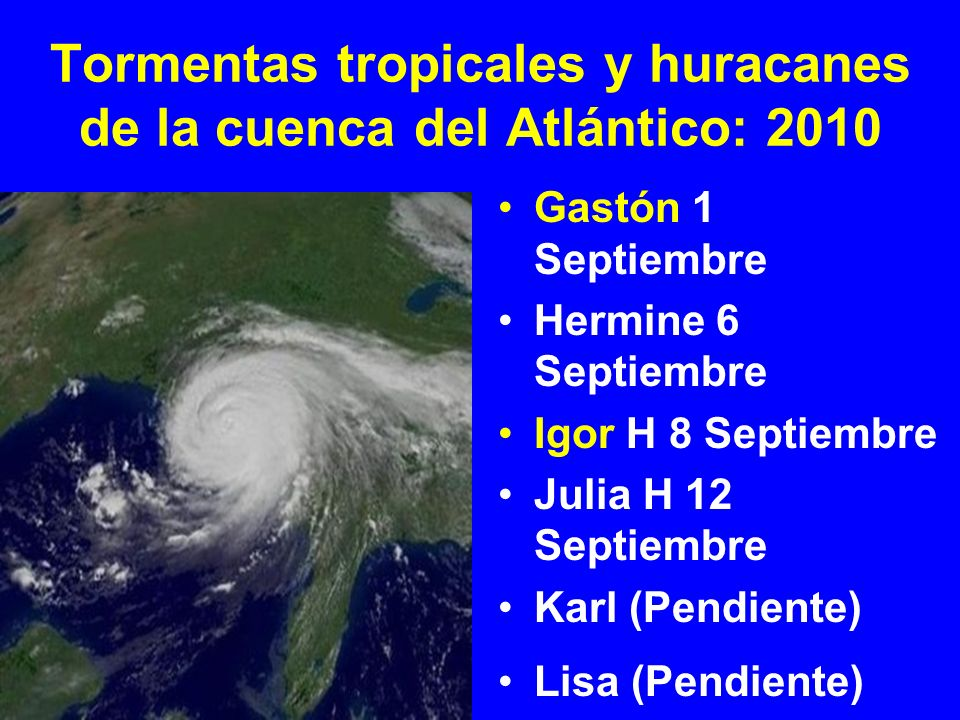 Tormentas tropicales y huracanes de la cuenca del Atlántico: 2010 Gastón 1 Septiembre Hermine 6 Septiembre Igor H 8 Septiembre Julia H 12 Septiembre K