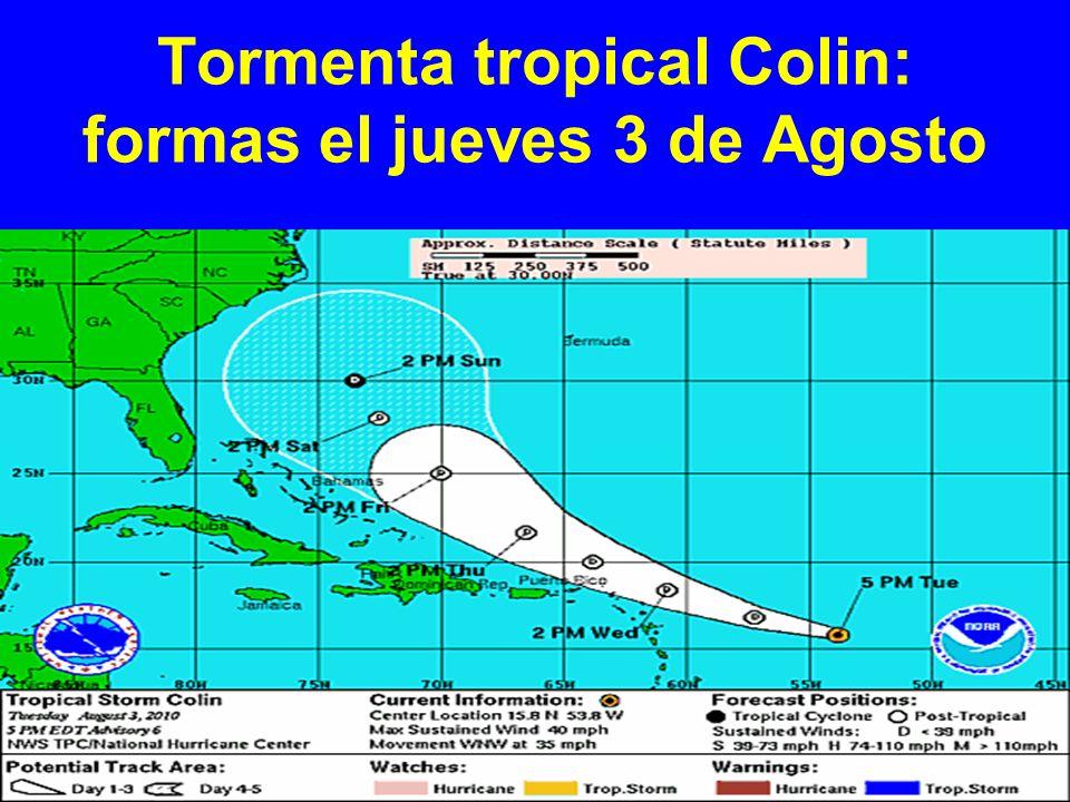 Tormenta tropical Colin: formas el jueves 3 de Agosto