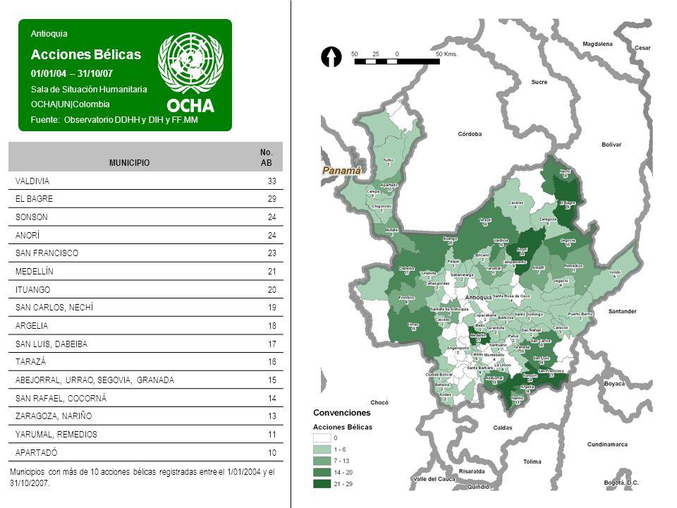 Antioquia Acciones Bélicas 01/01/04 – 31/10/07 Sala de Situación Humanitaria OCHA UN Colombia Fuente: Observatorio DDHH y DIH y FF.MM Entre el 1 de enero de 2004 y el 31 de octubre de 2007, se registraron en el departamento de Antioquia 592 acciones bélicas en 87 municipios.