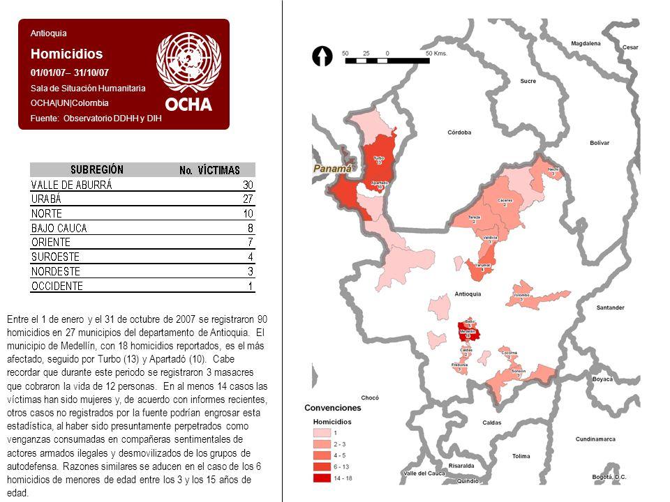 Antioquia Homicidios 01/01/07– 31/10/07 Sala de Situación Humanitaria OCHA|UN|Colombia Fuente: Observatorio DDHH y DIH Entre el 1 de enero y el 31 de octubre de 2007 se registraron 90 homicidios en 27 municipios del departamento de Antioquia.