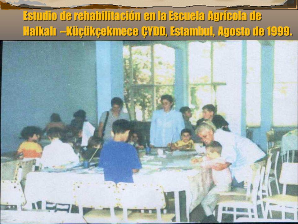Estudio de rehabilitación en la Escuela Agrícola de Halkalı –Küçükçekmece ÇYDD, Estambul, Agosto de 1999.