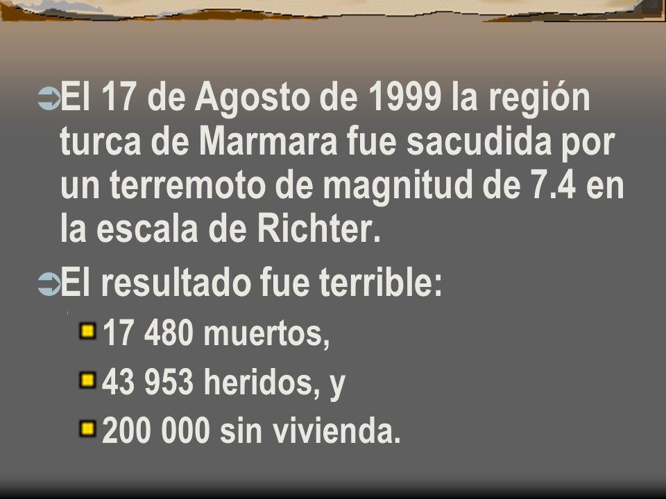 El 17 de Agosto de 1999 la región turca de Marmara fue sacudida por un terremoto de magnitud de 7.4 en la escala de Richter.