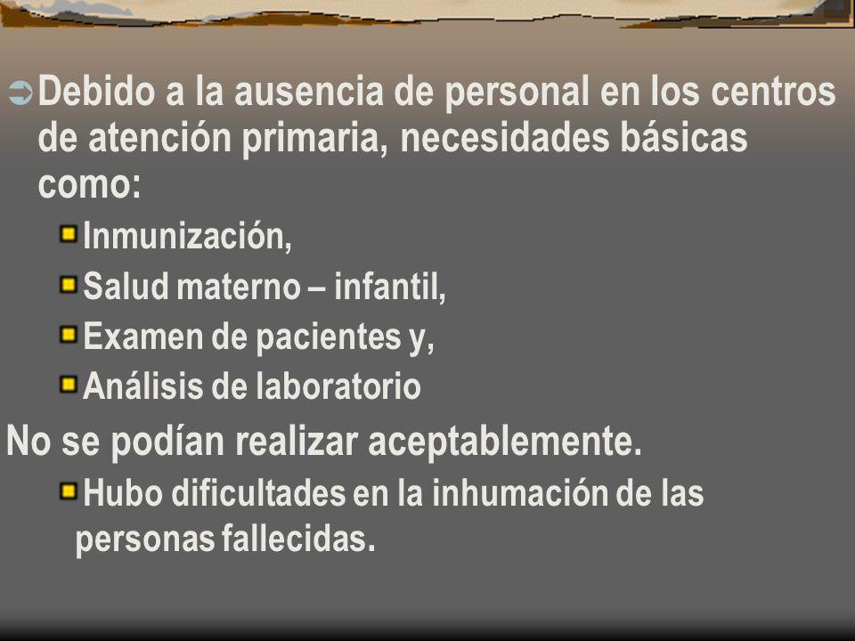 Debido a la ausencia de personal en los centros de atención primaria, necesidades básicas como: Inmunización, Salud materno – infantil, Examen de pacientes y, Análisis de laboratorio No se podían realizar aceptablemente.