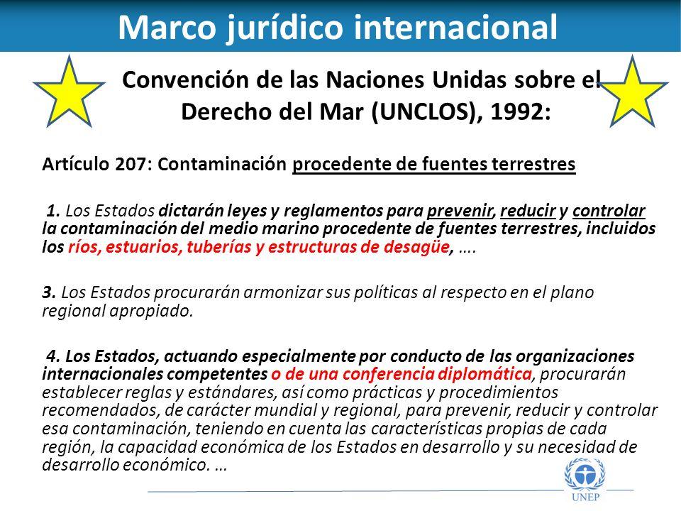 Convención de las Naciones Unidas sobre el Derecho del Mar (UNCLOS), 1992: Artículo 207: Contaminación procedente de fuentes terrestres 1.