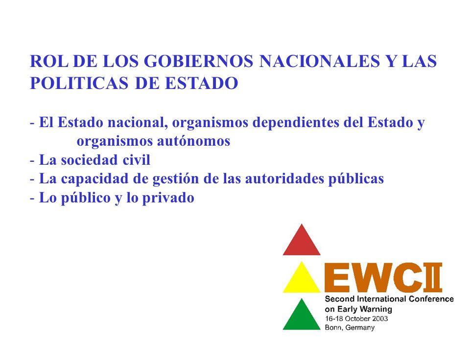 EXPERIENCIA DE LA COMUNIDAD ANDINA DE NACIONES, CAN: Venezuela, Colombia, Ecuador, Peru, Bolivia - CAPRADE: Comité andino para la prevención y atención de desastres - PREANDINO: Programa de prevencón y mitigación de riesgos - Responsables: Ministerios de planificación o similares - Comités nacionales - Comités sectoriales - Objetivos: - Integrar la red andina de alerta temprana (AT), prevención y mitigación de riesgos (PMR) - Marco legal e institucional - Identificación de actores