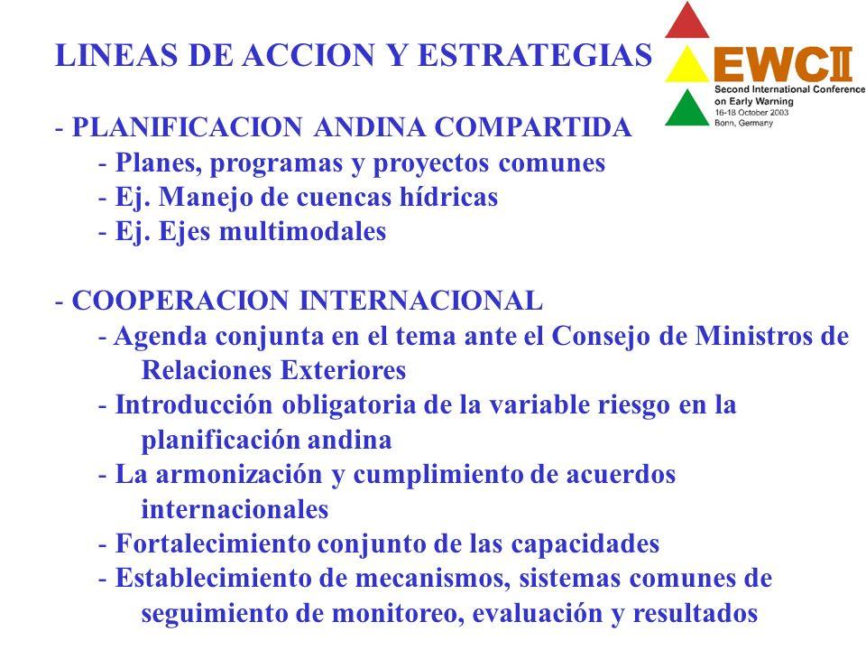LINEAS DE ACCION Y ESTRATEGIAS - PLANIFICACION ANDINA COMPARTIDA - Planes, programas y proyectos comunes - Ej. Manejo de cuencas hídricas - Ej. Ejes m