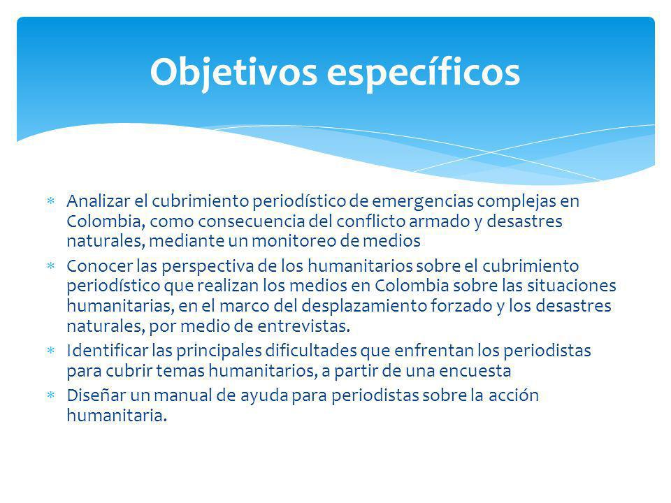 Analizar el cubrimiento periodístico de emergencias complejas en Colombia, como consecuencia del conflicto armado y desastres naturales, mediante un m