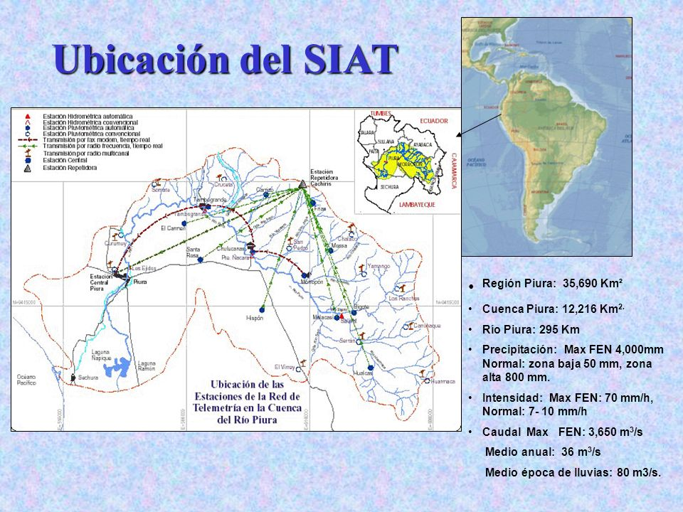 Región Piura: 35,690 Km² Cuenca Piura: 12,216 Km 2. Río Piura: 295 Km Precipitación: Max FEN 4,000mm Normal: zona baja 50 mm, zona alta 800 mm. Intens