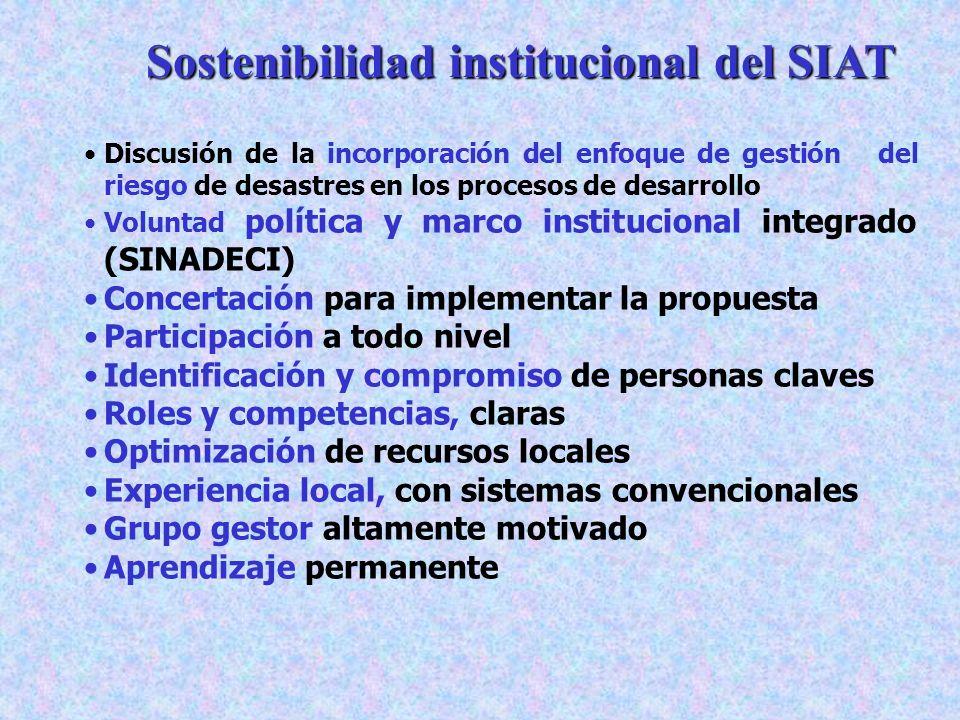 Sostenibilidad institucional del SIAT Discusión de la incorporación del enfoque de gestión del riesgo de desastres en los procesos de desarrollo Volun