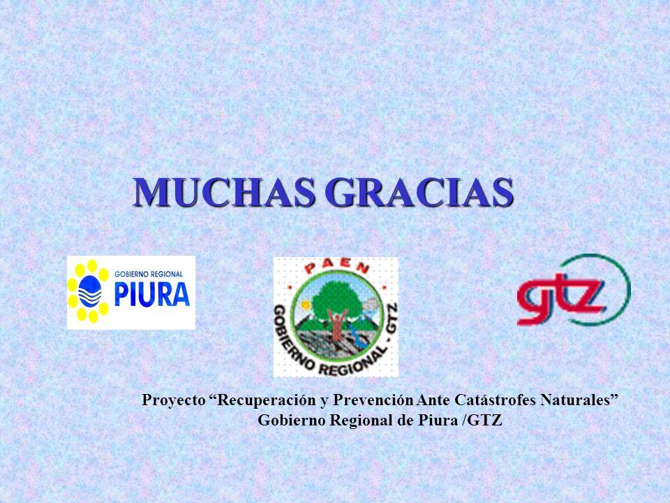 MUCHAS GRACIAS Proyecto Recuperación y Prevención Ante Catástrofes Naturales Gobierno Regional de Piura /GTZ