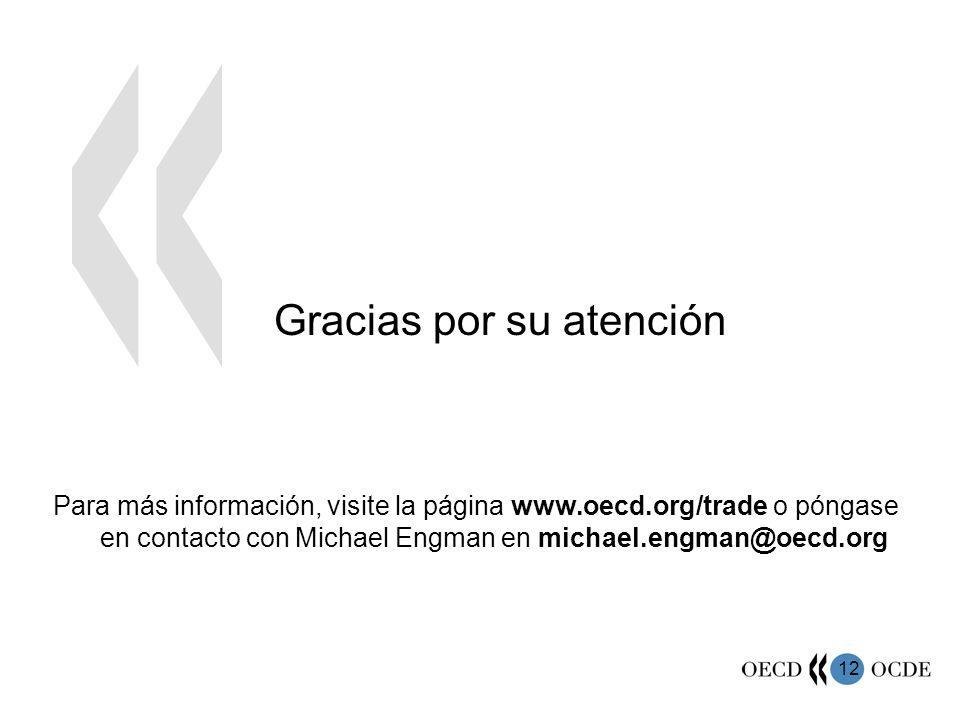 12 Gracias por su atención Para más información, visite la página www.oecd.org/trade o póngase en contacto con Michael Engman en michael.engman@oecd.org