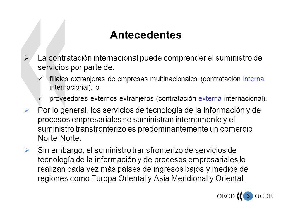 3 La contratación internacional puede comprender el suministro de servicios por parte de: filiales extranjeras de empresas multinacionales (contratación interna internacional); o proveedores externos extranjeros (contratación externa internacional).