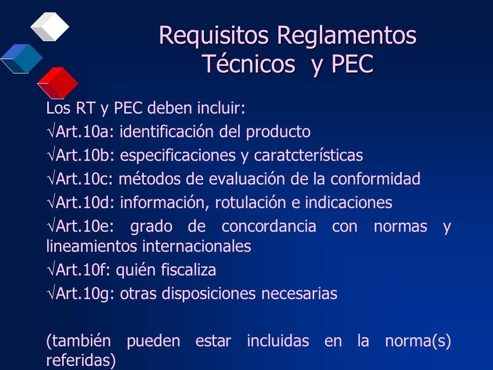 Los RT y PEC deben incluir: Art.10a: identificación del producto Art.10b: especificaciones y caratcterísticas Art.10c: métodos de evaluación de la con