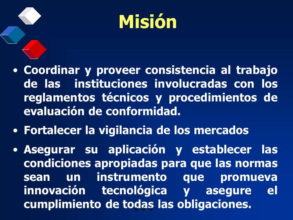 Misión Coordinar y proveer consistencia al trabajo de las instituciones involucradas con los reglamentos técnicos y procedimientos de evaluación de co