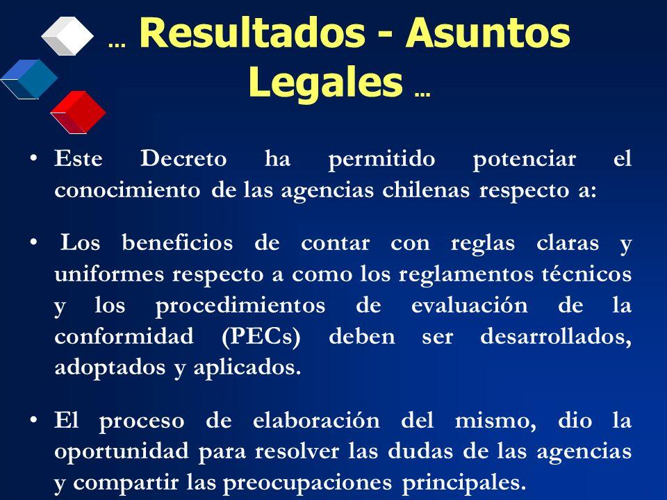 Este Decreto ha permitido potenciar el conocimiento de las agencias chilenas respecto a: Los beneficios de contar con reglas claras y uniformes respec