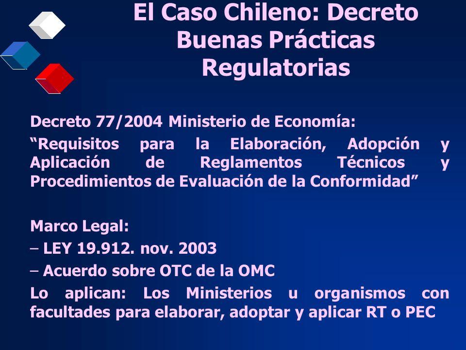 El Caso Chileno: Decreto Buenas Prácticas Regulatorias Decreto 77/2004 Ministerio de Economía: Requisitos para la Elaboración, Adopción y Aplicación d