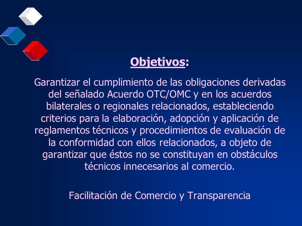 Objetivos: Garantizar el cumplimiento de las obligaciones derivadas del señalado Acuerdo OTC/OMC y en los acuerdos bilaterales o regionales relacionad