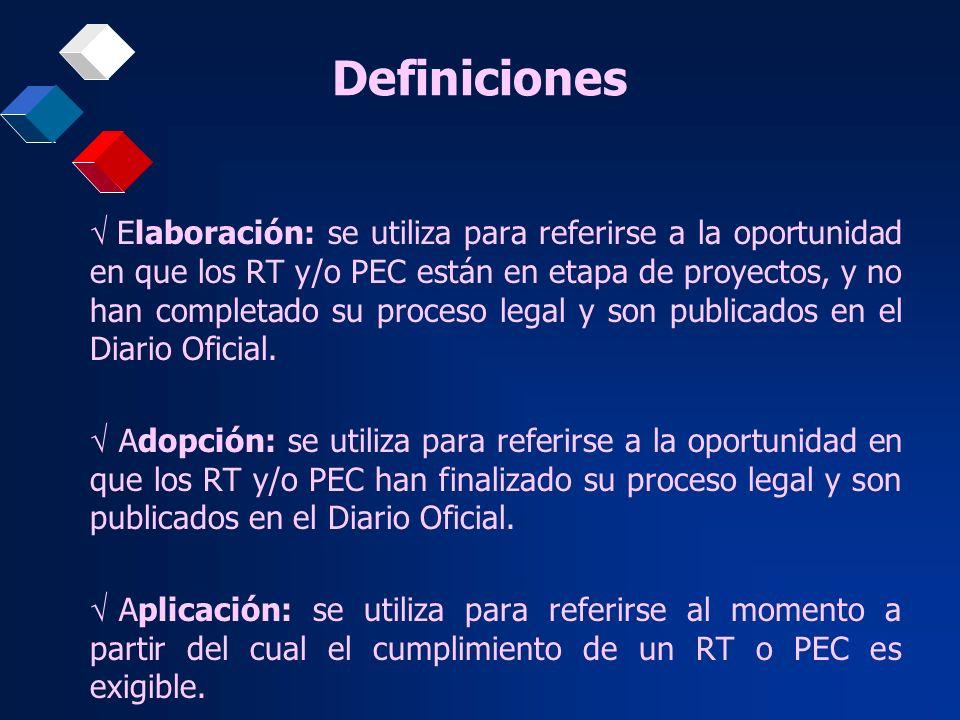 Definiciones Elaboración: se utiliza para referirse a la oportunidad en que los RT y/o PEC están en etapa de proyectos, y no han completado su proceso
