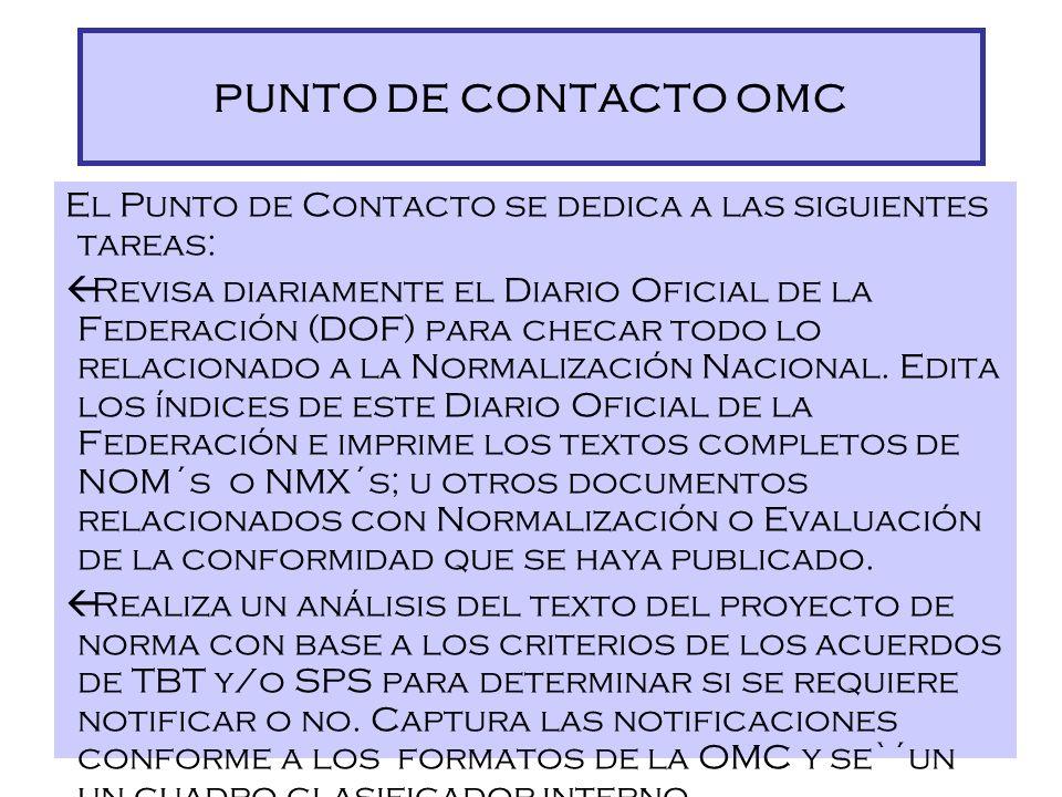 Políticas del Punto de Contacto ß El Punto de Contacto, único responsable en México para notificar a la OMC ß Misión Permanente en Ginebra, un paso ob