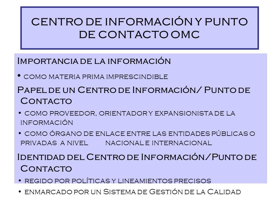 Difusión *Promoción *Capacitación Información *Centro de Información *Biblioteca *Venta de normas Y *Punto de Contacto OMC Dirección de Promoción de l