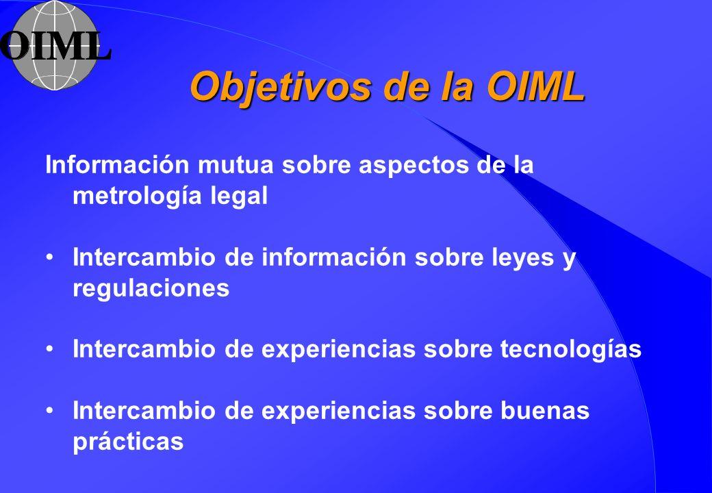 Objetivos de la OIML Información mutua sobre aspectos de la metrología legal Intercambio de información sobre leyes y regulaciones Intercambio de expe