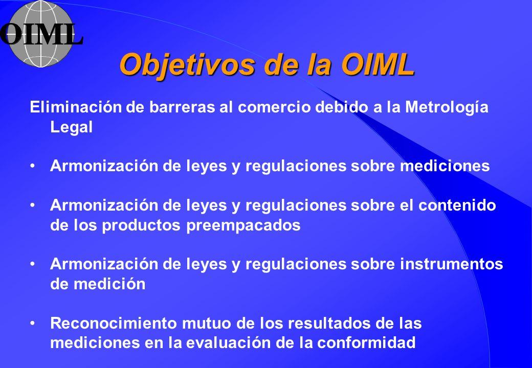 Objetivos de la OIML Eliminación de barreras al comercio debido a la Metrología Legal Armonización de leyes y regulaciones sobre mediciones Armonizaci