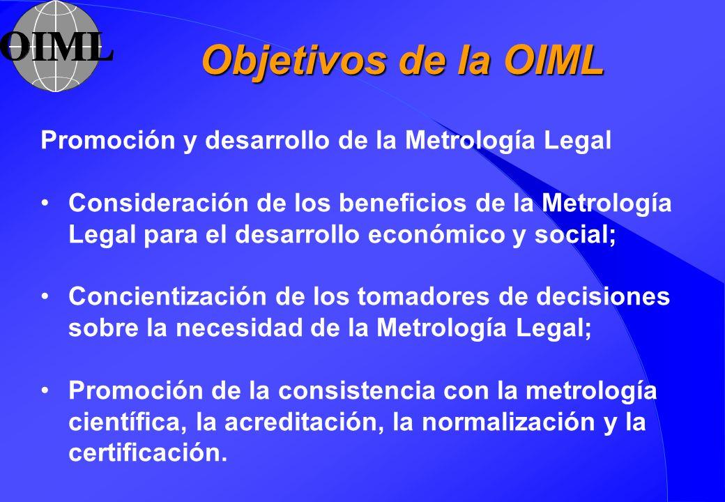 Objetivos de la OIML Promoción y desarrollo de la Metrología Legal Consideración de los beneficios de la Metrología Legal para el desarrollo económico