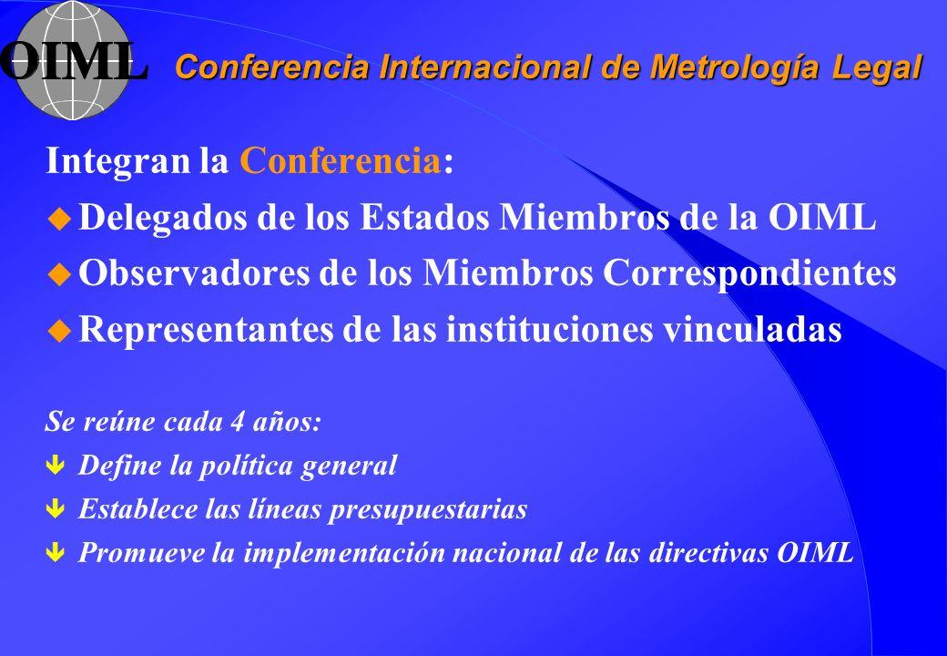 Conferencia Internacional de Metrología Legal Integran la Conferencia: u Delegados de los Estados Miembros de la OIML u Observadores de los Miembros C