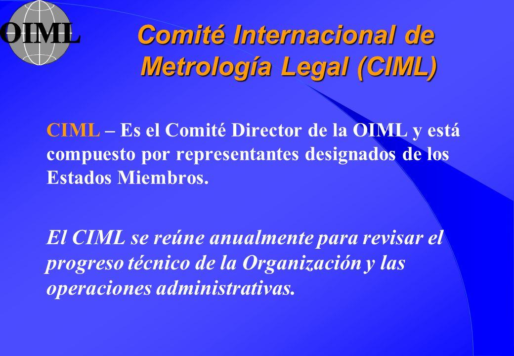 Comité Internacional de Metrología Legal (CIML) CIML – Es el Comité Director de la OIML y está compuesto por representantes designados de los Estados