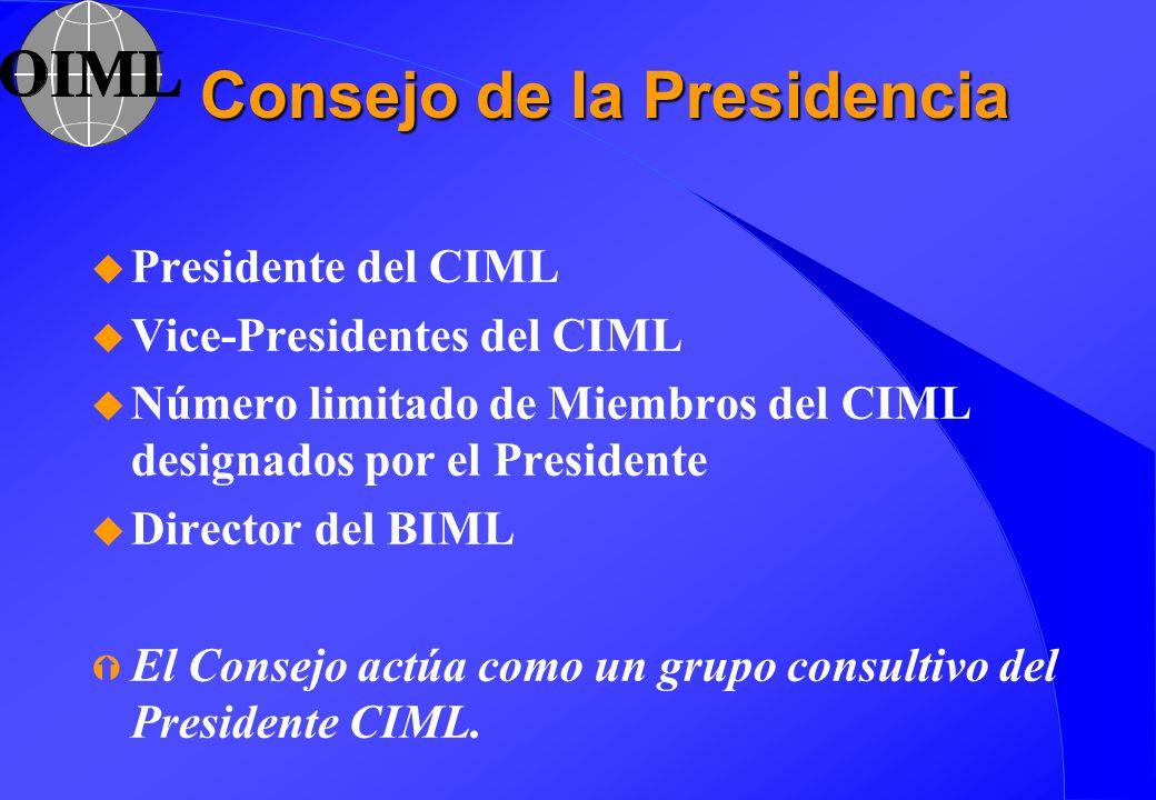 Consejo de la Presidencia u Presidente del CIML u Vice-Presidentes del CIML u Número limitado de Miembros del CIML designados por el Presidente u Dire