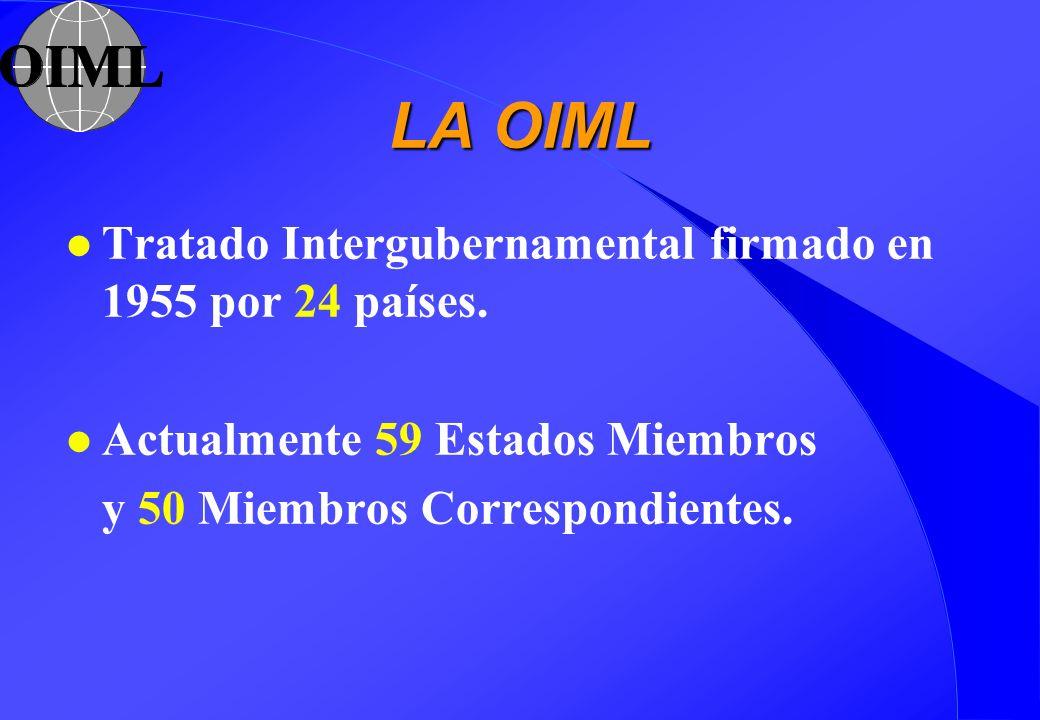 LA OIML l Tratado Intergubernamental firmado en 1955 por 24 países. l Actualmente 59 Estados Miembros y 50 Miembros Correspondientes.