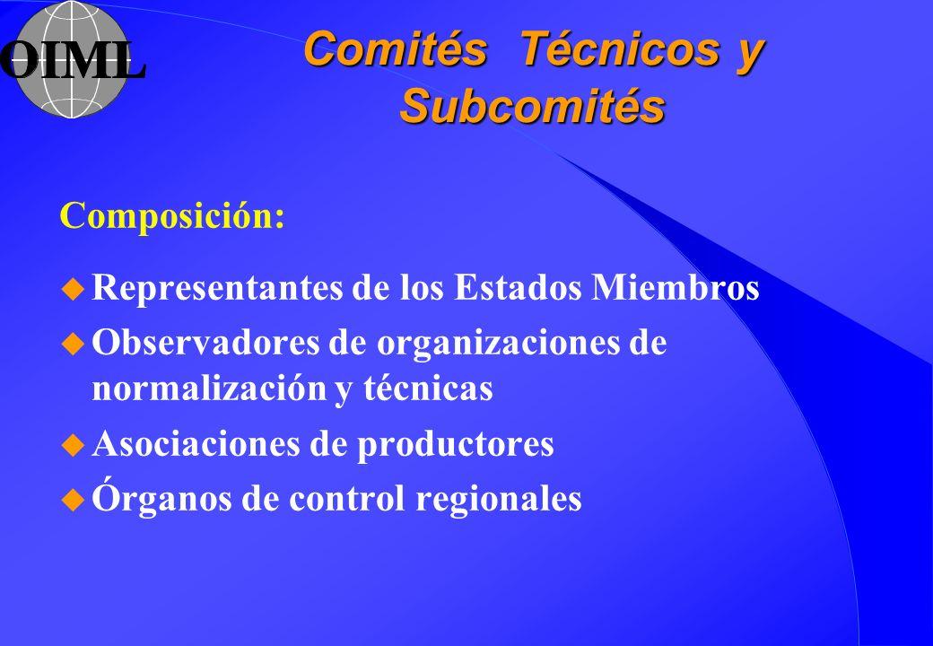 Comités Técnicos y Subcomités Composición: u Representantes de los Estados Miembros u Observadores de organizaciones de normalización y técnicas u Aso