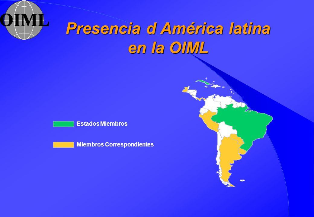 Presencia d América latina en la OIML Estados Miembros Miembros Correspondientes