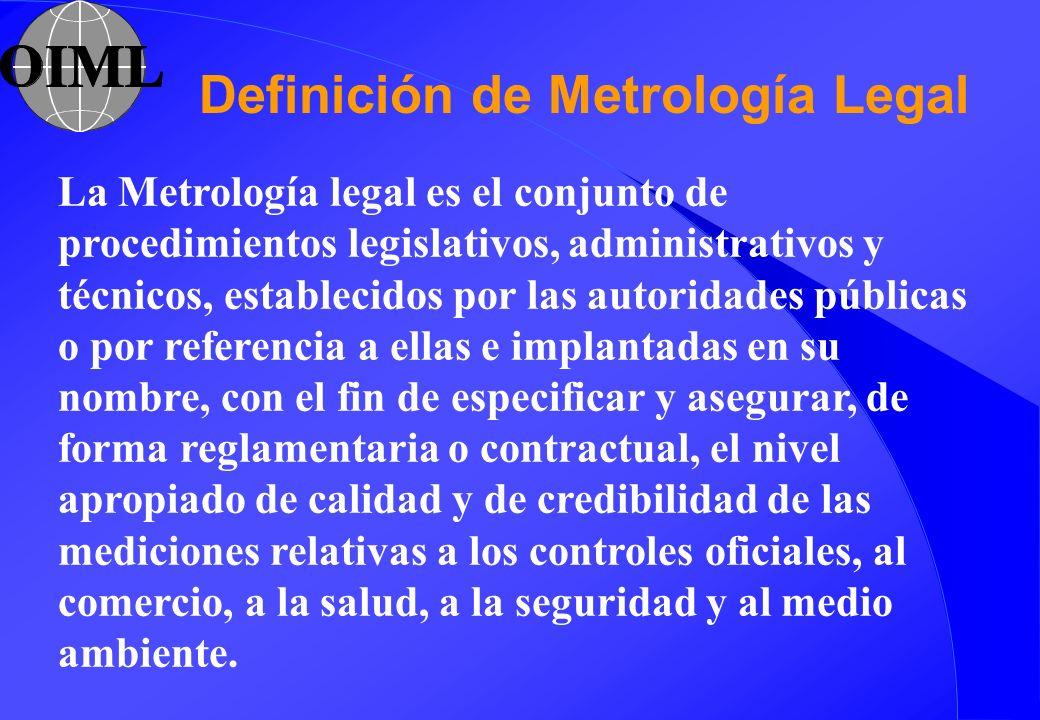La Metrología legal es el conjunto de procedimientos legislativos, administrativos y técnicos, establecidos por las autoridades públicas o por referen