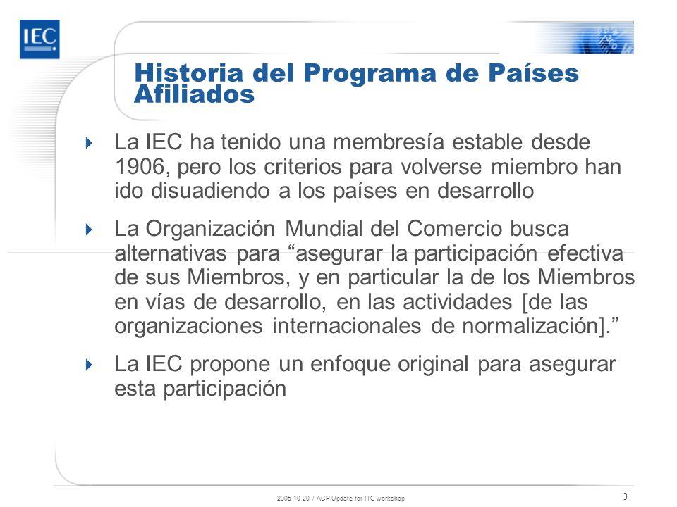 2005-10-20 / ACP Update for ITC workshop 4 Un Programa Original (1) Compromiso de los Afiliados para usar Normas Internacionales Participación gratuita, sin derecho a voto.