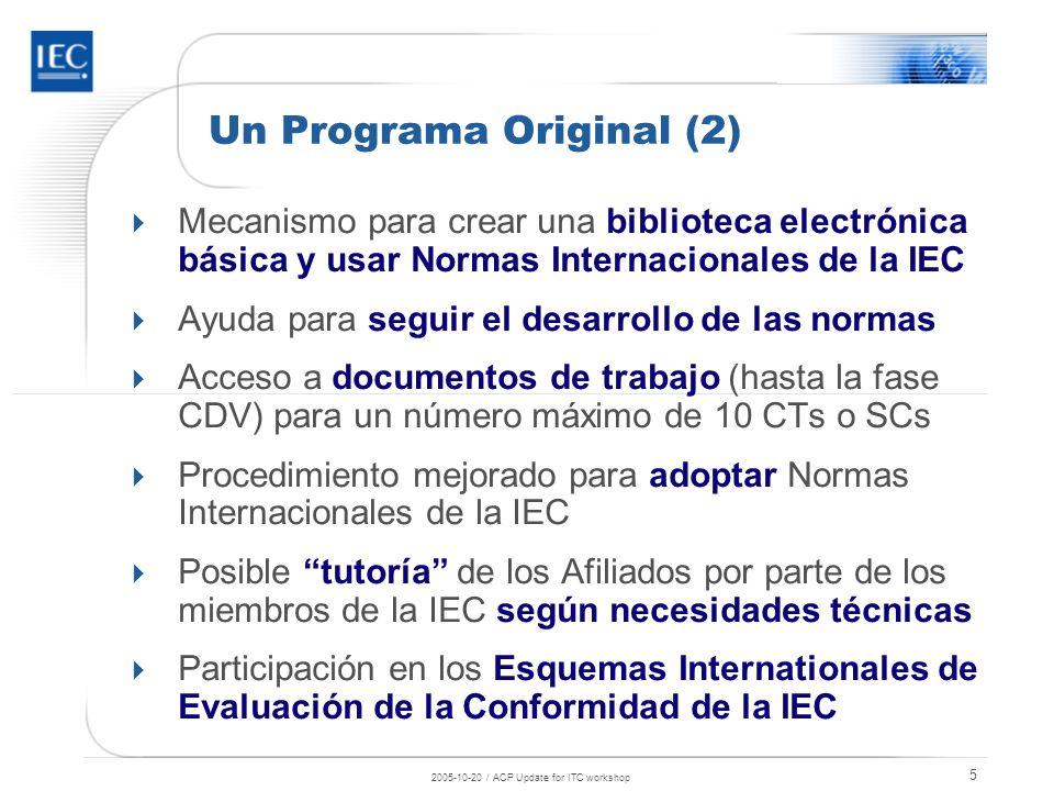 2005-10-20 / ACP Update for ITC workshop 6 Familia IEC: 135 países Miembros IEC Afiliados