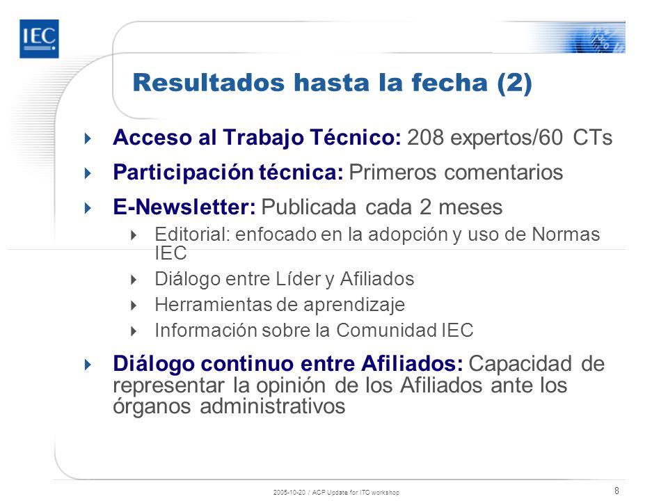 2005-10-20 / ACP Update for ITC workshop 9 Afiliados en Latinoamérica que participan en el Programa Antigua y Barbuda Barbados Costa Rica Cuba Dominica Ecuador Guyana Paraguay Panamá Perú Santa Lucía Uruguay Venezuela