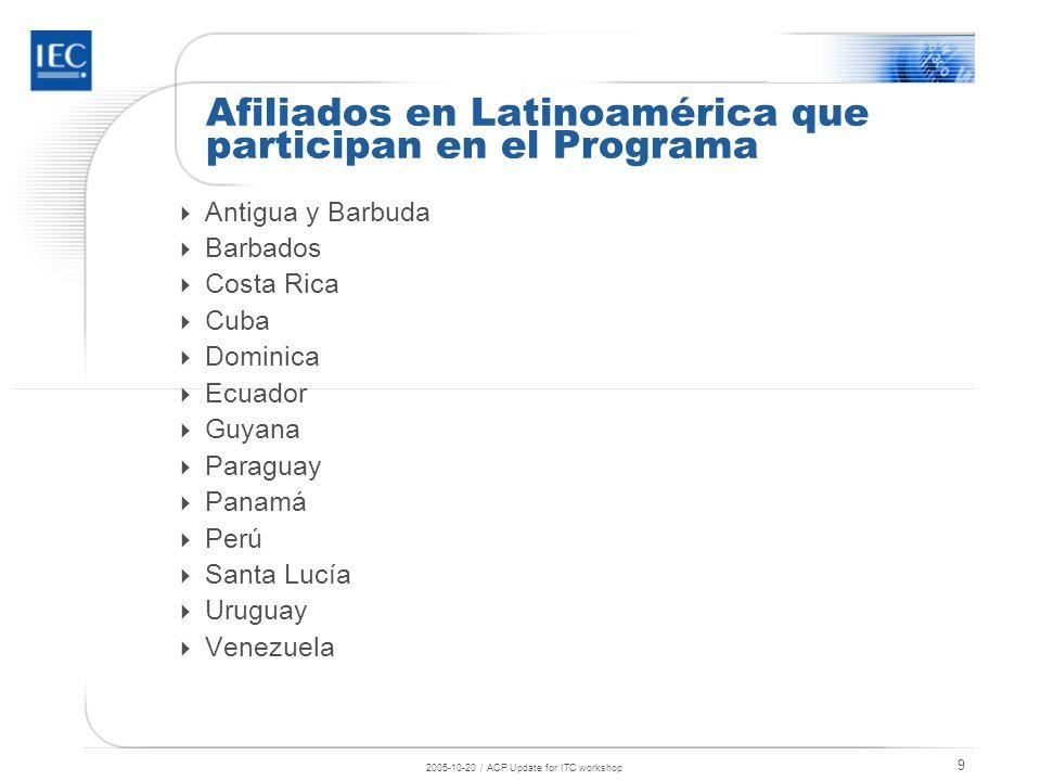 2005-10-20 / ACP Update for ITC workshop 10 Afiliados en la región que aún no utilizan plenamente el Programa Belice Bolivia República Dominicana Granada Guatemala Haití Jamaica