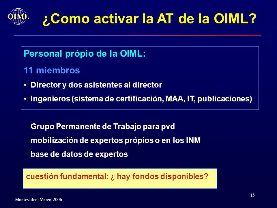 15 OIML Montevideo, Marzo 2006 ¿Como activar la AT de la OIML? Personal própio de la OIML: 11 miembros Director y dos asistentes al director Ingeniero
