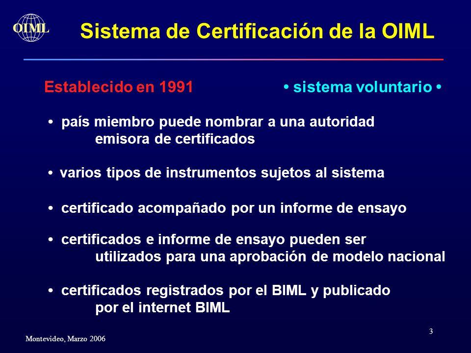 3 OIML Montevideo, Marzo 2006 Establecido en 1991 Sistema de Certificación de la OIML país miembro puede nombrar a una autoridad emisora de certificad
