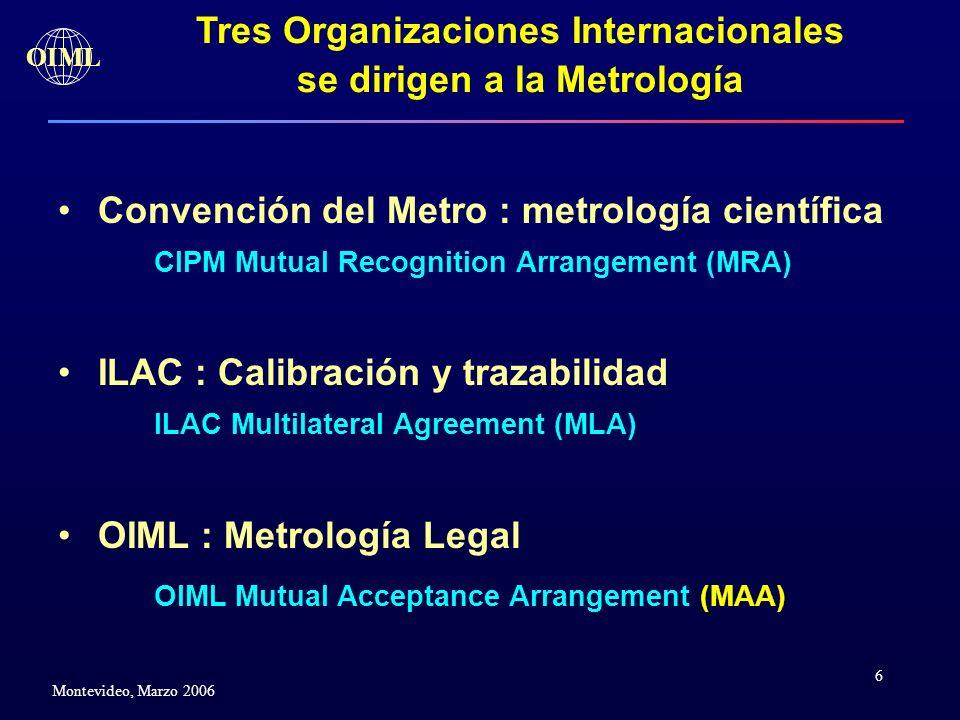 6 OIML Montevideo, Marzo 2006 Convención del Metro : metrología científica CIPM Mutual Recognition Arrangement (MRA) ILAC : Calibración y trazabilidad