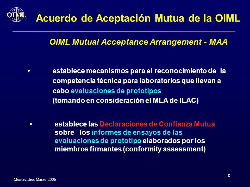 8 OIML Montevideo, Marzo 2006 Acuerdo de Aceptación Mutua de la OIML OIML Mutual Acceptance Arrangement - MAA establece mecanismos para el reconocimie