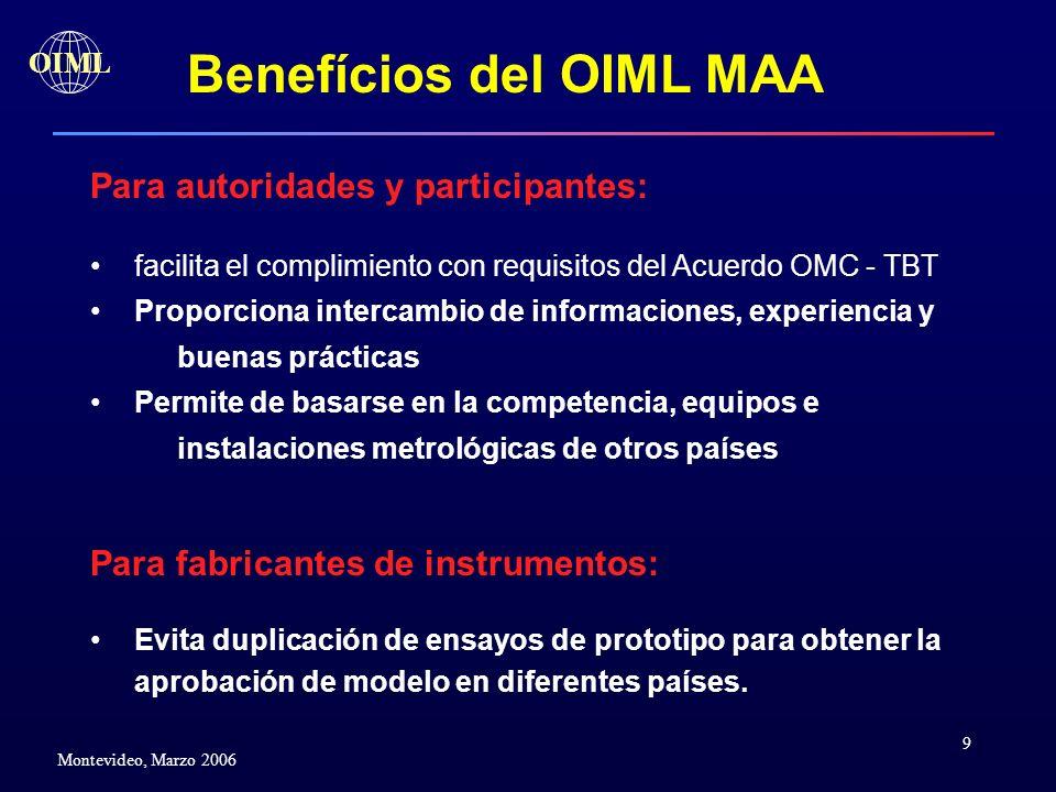 9 OIML Montevideo, Marzo 2006 Benefícios del OIML MAA Para autoridades y participantes: facilita el complimiento con requisitos del Acuerdo OMC - TBT