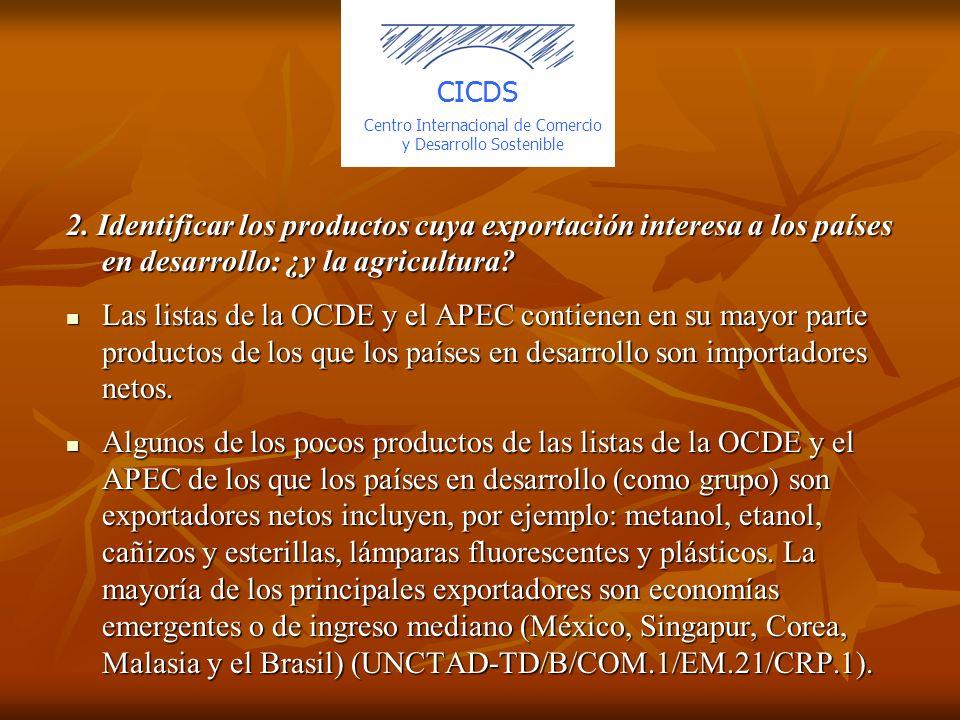 2. Identificar los productos cuya exportación interesa a los países en desarrollo: ¿y la agricultura? Las listas de la OCDE y el APEC contienen en su