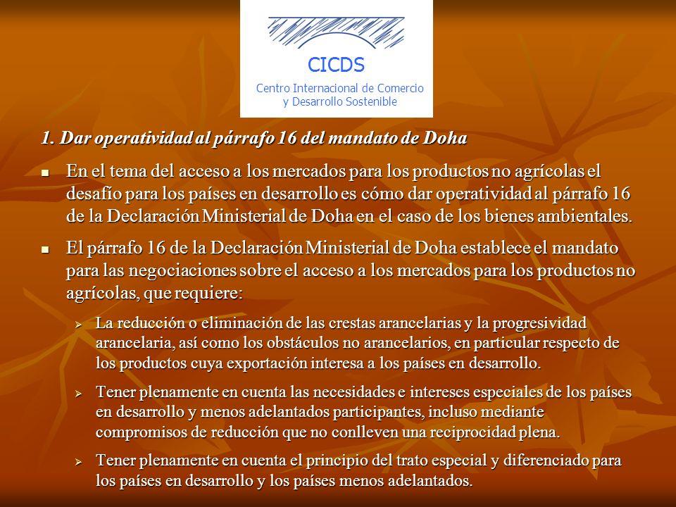 1. Dar operatividad al párrafo 16 del mandato de Doha En el tema del acceso a los mercados para los productos no agrícolas el desafío para los países