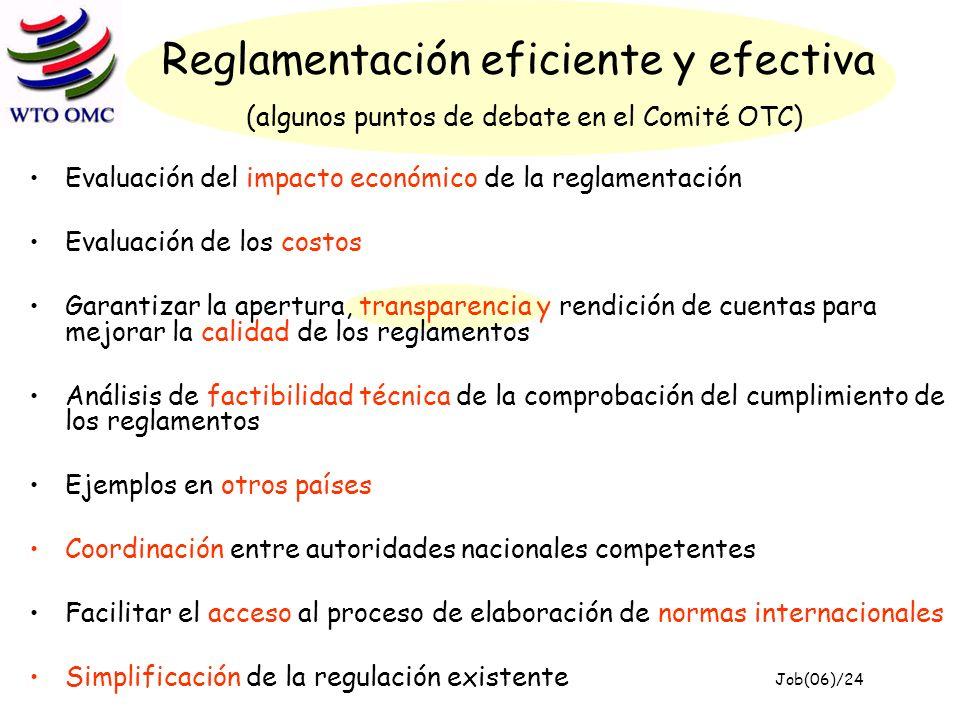 Reglamentación eficiente y efectiva (algunos puntos de debate en el Comité OTC) Evaluación del impacto económico de la reglamentación Evaluación de los costos Garantizar la apertura, transparencia y rendición de cuentas para mejorar la calidad de los reglamentos Análisis de factibilidad técnica de la comprobación del cumplimiento de los reglamentos Ejemplos en otros países Coordinación entre autoridades nacionales competentes Facilitar el acceso al proceso de elaboración de normas internacionales Simplificación de la regulación existente Job(06)/24