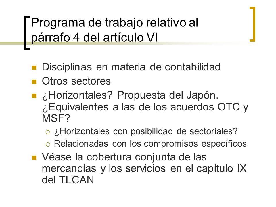 Programa de trabajo relativo al párrafo 4 del artículo VI Disciplinas en materia de contabilidad Otros sectores ¿Horizontales.